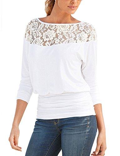Minetom Damen Langarm Rundhals Spitze Splice Hemd Lose Bluse Oberteil Langarmshirt Tops T-Shirt Weiß DE 34 (Printed Top Sleeve Dolman)