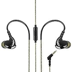 AGPTek Auriculares in-ear para hacer deporte (reducción de ruido,3.5mm ), Negro