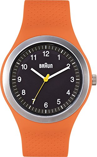 Braun - BN0111BKORG - Montre Mixte - Quartz Analogique - Bracelet Silicone orange