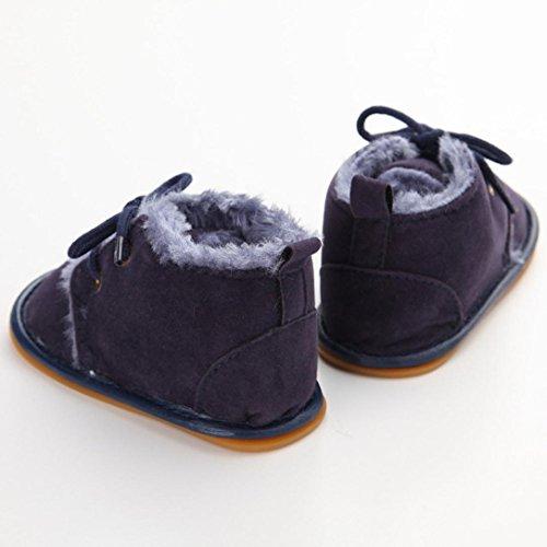 Saingace® Bébé garçons filles bébé bottes de neige pour bébé chaussures en caoutchouc prewalker sole chaussures berceau,0-18mois (13cm, Noir) Bleu foncé