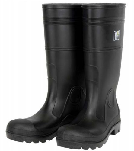 MCR Safety PBP1207 Waterproof PVC Men's Knee Boot with Plain Toe, Nero, Size 7, (Mens Plain Toe)