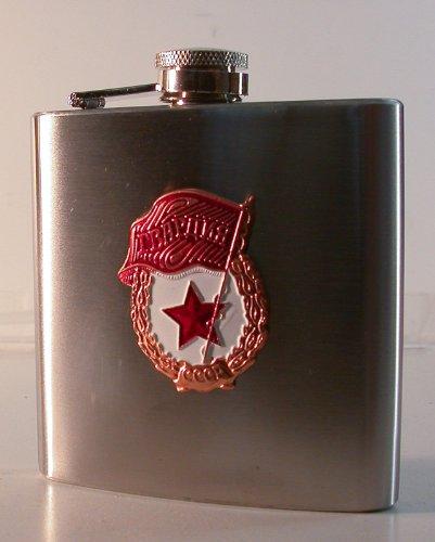 Flachmann aus Edelstahl mit Schraubverschluss roter Stern und Flagge CCCP RUSSLAND SOWJETUNION -