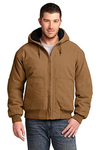 CornerStone® Washed Duck Cloth Insulated Hooded Work Jacket. CSJ41 Duck Brown (Brown Hooded Duck Jacket)