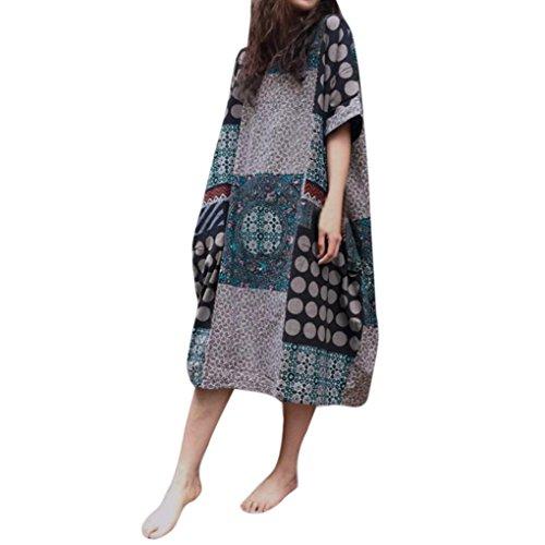 Kanpola Damen Damen Nachthemden Kurzarm Baumwolle Leinen lose Tasche lange Bohe Kleid Floral Kaftan Nachtwäsche Nachthemden (M/38, Grau)