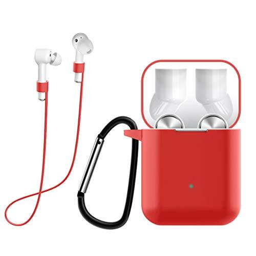 Yoowei [3 in 1] Custodia Set per Xiaomi AirDots PRO Cover in Silicone Protettive + Moschettone + Cuffie Cavo, [Supporta la Ricarica Wireless] [Anteriore a LED Visibile], Rosso