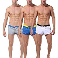 VPbao - Pack de 3 pantalones cortos deportivos para hombre, para verano, correr, fitness, boxer