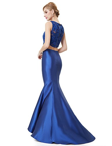 Ever Pretty Robe de cocktail longue deux-pi¨¨ces Fishtail 08434 Bleu Saphir