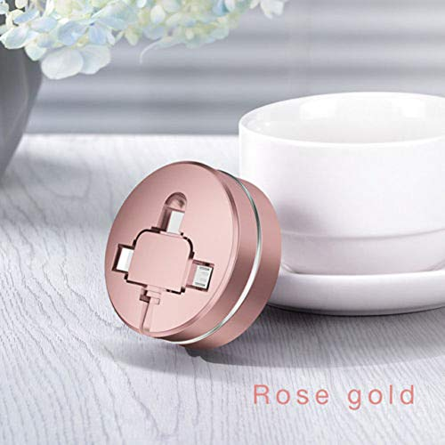 Ladekabel 3 in 1 Zubehör Mini Durable Retractable USB Multifunktionale Schnellladung ABS Sync Tragbares Handy Datenkabel Universal Storage(Rose Gold) - Mini Retractable Sync