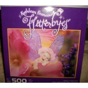 Kathleen Francour Flitterbyes Happy Hollyhocks 500 Piece Puzzle by Sure-Lox by Sure-Lox