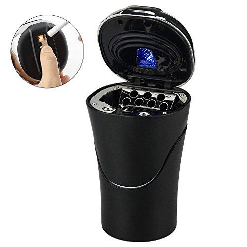 E-More KFZ-Aschenbecher, tragbar, abnehmbar, mit Zigarettenanzünder, rauchfrei, mit blauer LED-Kontrollleuchte, USB-Ladekabel, für die meisten Auto-Becherhalter