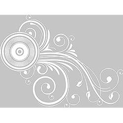GRAZDesign 560020_40_010 Wandtattoo Ornament mit Retro | Blumentattoo für Wohnzimmer - Schlafzimmer - Küche | Blumenranken und Pflanzen an die Wand als Wand-Aufkleber (52x40cm//010 weiss)