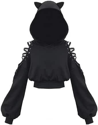 Felpa da donna con orecchie di gatto nero con cappuccio a maniche lunghe