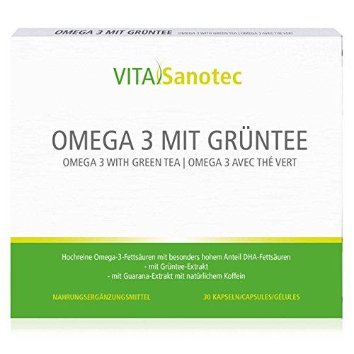 Vita Sanotec Omega 3 mit Grüntee, 30 Kapseln – Nahrungsergänzungsmittel mit Omega 3 Fettsäuren, Grüntee-Extrakt und Guarana-Extrakt mit natürlichem Koffein