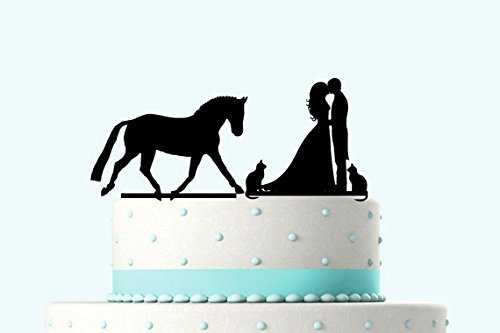Decorating for cake for bride and groom kissing with dog horse cake decoration wedding present for couple