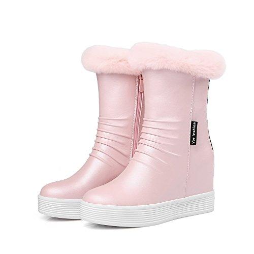 AgooLar Damen Rund Zehe Hoher Absatz Niedrig-Spitze Rein Stiefel Pink