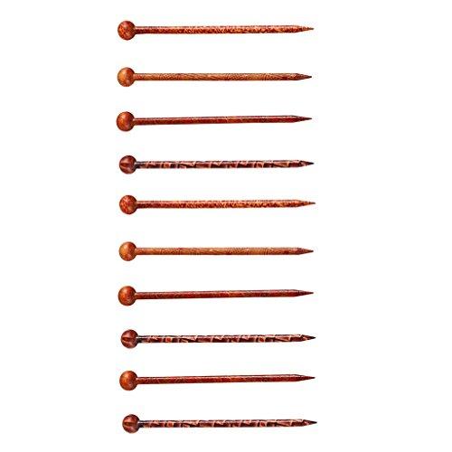 Sharplace 10pcs Pique à Cheveux Bâtonnets de Cheveux Naturel Santal Rouge à La Main Sculpté Pince à Cheveux Epingles à Cheveux