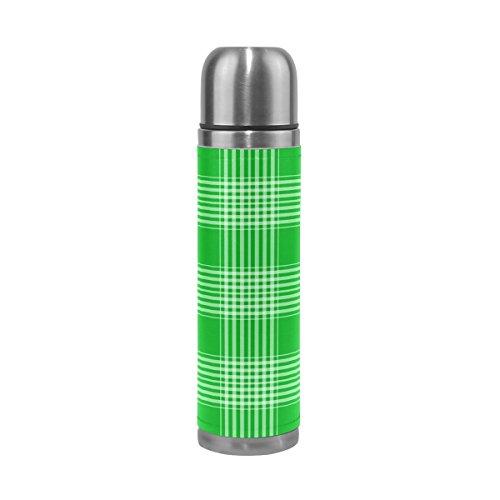 Isaoa 500 ml Boisson Bouteille d'eau en acier inoxydable Vert bouteille écossais Isolation sous vide Thermos anti-fuites à double paroi isotherme pour l'intérieur Sports de plein air randonnée Course