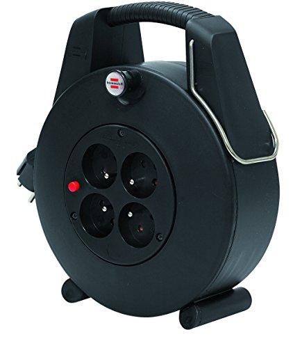 Brennenstuhl Confort-Line Enrouleur à Usage Domestique 4 prises avec 20m de câble (H05VV-F 3G1,0, IP20, Noir, petit format, très pratique)
