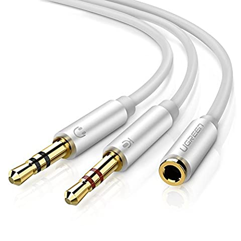 UGREEN Headphone Mic Cable, Audio Microphone Splitter, 3.5mm Female CTIA Standard to 2 Dual 3.5mm Male Audio Mic Splitter for Speaker,Headphones,PC Aluminum Case 20cm