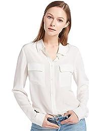 LilySilk Klassisch Seide Damenbluse Hemdbluse Shirt Damen Langärmlig mit  Perlmutt-Knopfleiste von 18 Momme Verpackung… 48c9db315c