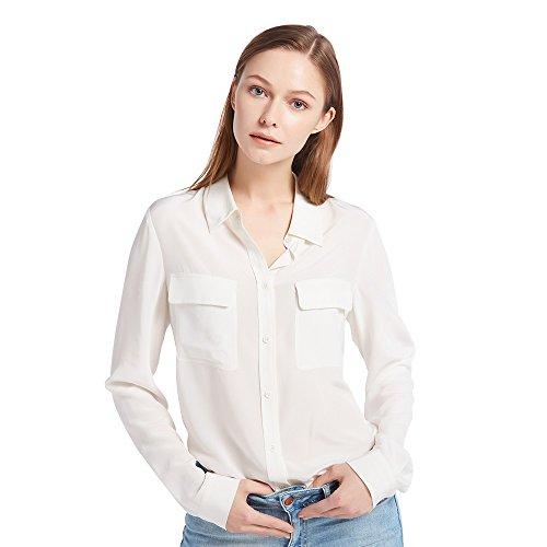 LILYSILK Klassisch Seide Damenbluse Hemdbluse Shirt Damen Langärmlig mit Perlmutt-Knopfleiste von 18 Momme (Natur, S) (Weiße Seide Tunika)