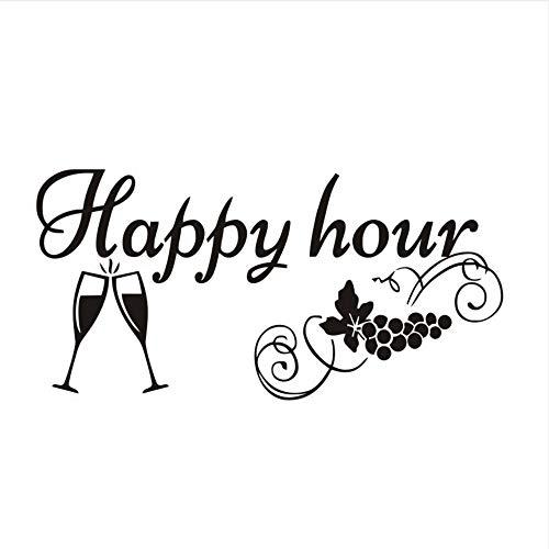 Dxyily Fabrik Preis Küche Tafel Aufkleber Happy Hour Traubenweingläser Dekor Tafel Abnehmbare Wasserdichte Vinyl Wandaufkleber 87X43 Cm