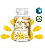 Vitamina D 3 e K2, 60 compresse multivitaminiche arricchite con estratto di bambù, concentrazione di 4.000 ui in una sola compressa. Favorisce il mantenimento delle ossa. novonatur