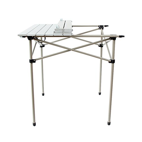 Tables de pique-nique Table pliante en aluminium blanc table portative extérieure table de ménage stockage facile (Color : Blanc, Size : 70 * 70 * 69.3cm)
