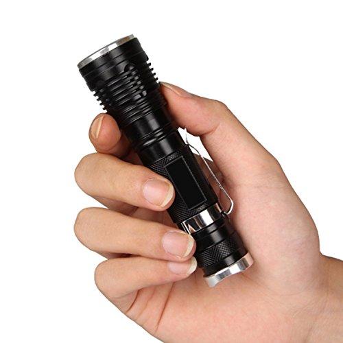 Preisvergleich Produktbild Mini 12cm 1200LM CREE Q5 LED Birnen Zoomable justierbare Fokus-handliche bewegliche taktische Taschenlampen-Fackel Alluminum Legierungs-Material 3 grelle Modi wasserdichtes M490-01
