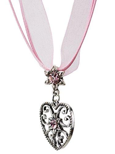 Trachtenkette Alpensonne Herz und Edelweiss Anhänger mit Strass - Trachtenschmuck Kette für Dirndl und Lederhose (Rosa)
