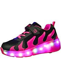 [Presente:peque?a toalla]Fucsia EU 32, Recargable manera Zapatillas LED Multicol