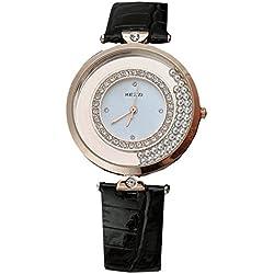 Kezzi Damen Armbanduhr elegante Uhr Quicksand bewegliche Kugeln Strass Analog Quarz rosegold schwarz