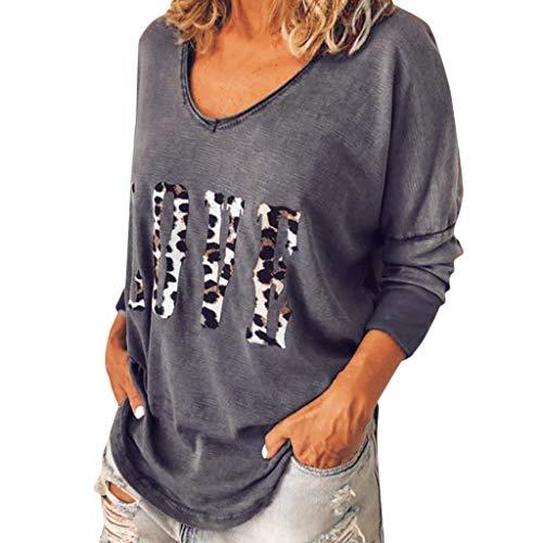 TYTUOO Damen Tops Frauen Langarm Leopard Brief Drucken T-Shirt Lose Top Liebe Lässige Bluse Herbst T