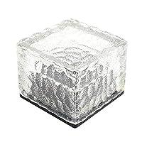 مصباح بشكل قالب ثلج زجاجي مضاد للماء ويعمل على الطاقة الشمسية، للاستخدام في الحدائق وخارج المنزل