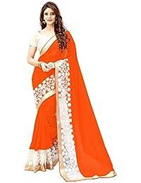 Saree By Saree Mandir Georgette Saree With Blouse Piece (_Orange_Free Size)