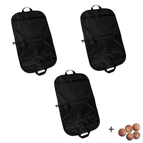 'Pochettes de voyage vêtements respirant Sac de transport–Sac de 40de long Robe Noir avec poignées de rangement pour voyage, linge par abimars Pack de 3 Medium