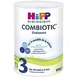 HiPP Biologique 3 Lait Combiotic Croissance de 10 mois à 3 ans - 3 boîtes de 900 g