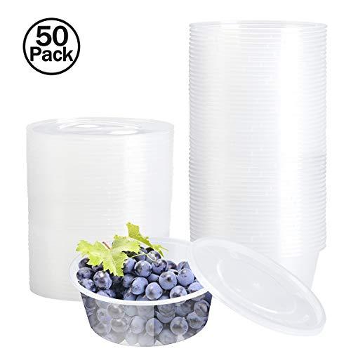 Vinida Boite Plastique,Recipient Plastique, 50 x 300ml Boîtes de Rangement réutilisables Boîte en Plastique Ronde avec couvercles pour Nourriture, Fruits, Limon et Autres