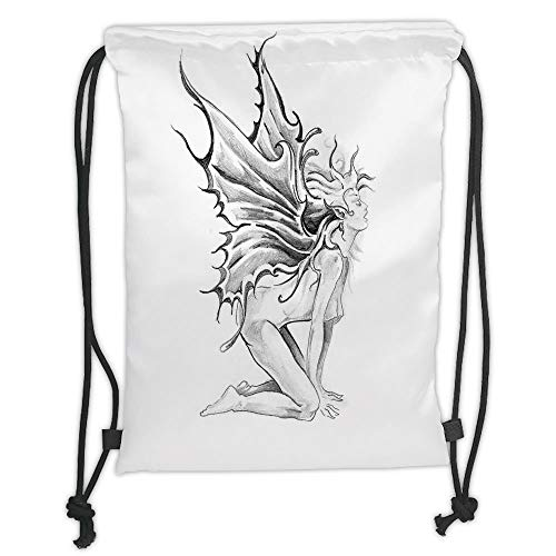Fashion Printed Drawstring Backpacks Bags,Tattoo Decor,Artistic Pencil Drawing Art Print Nude Fairy Opening its Angel Wings,Black and White Soft Satin,5 Liter Capacity,Adjustable String Closure,Th