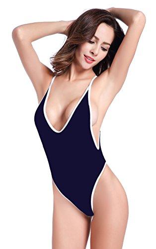 SHEKINI Damen Einteiliger Badeanzug Push up String Tanga Bikini Schwimmanzug Monokini (Small,Tiefes Blau) Ibiza Thong