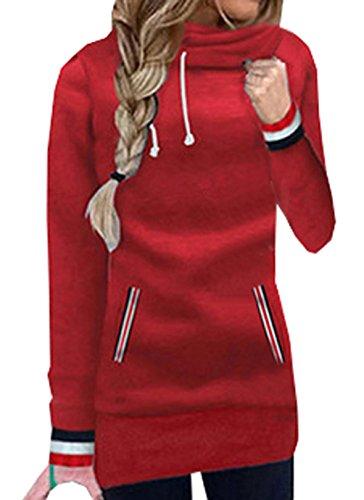 Donna Autunno Lnverno Varsity Strisce Felpe Con Cappuccio Felpa Top Hoodie Maglie a Manica Lunga Maglietta Pullover Sweatshirt Rosso