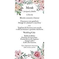 Menù matrimonio o cerimonia acquerello rose e peonie 20 pz