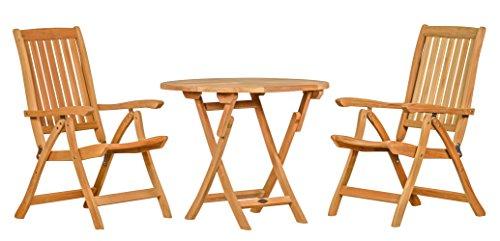 3 teilige Sitzgruppe aus haltbarem Teakholz  2x Hochlehner + 1x Tisch  Wetterfest  Nachhaltiges Plantagenholz  Klassisch geformte Balkon-Gruppe, Sitzgruppe aus Holz