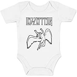 "Body Bebè ""Led Zeppelin - Icarus Logo"" - rock baby body LaMAGLIERIA, 6-12 mesi, blanco"