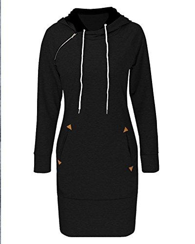 BIUBIU Damen Mode Hoodie mit Zip Langarm Pullover Jumper Pulli Sweatshirt Jumper Schwarz
