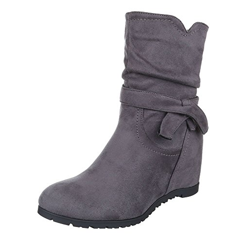 Keilstiefeletten Damen Schuhe Plateau Keilabsatz/ Wedge Leicht Gefütterte Reißverschluss Ital-Design Stiefeletten Grau, Gr 39, 0-115-
