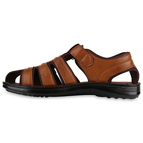 Herren Komfort Sandalen Bequeme Freizeit Schuhe Lederoptik Hellbraun Braun