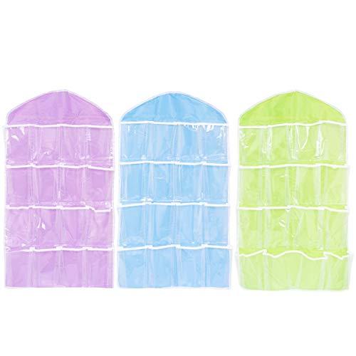 QILICZ 3 stück Faltbare Garderobe hängende Taschen Organizer Aufhänger-Wandschrank 16 Taschen Aufbewahrungstasche für Socken, BH, Unterwäsche, Kleider, Strümpfe, Toilettenartikel (Blau/grün/Lila) Kleid, Strümpfe