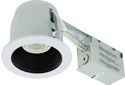 LiteLine rc402C01-led-pw-bk All-in-One 4-Zoll LED Einbaustrahler Combo mit Besprühen Gehäuse, 8W PAR20LED-Lampe,-Schnitt, schwarz (Combo Pw)