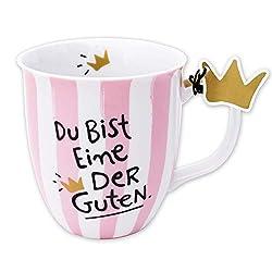 Happy Life 45979 Tasse mit Spruch Du bist eine der Guten, Porzellan, 40 cl , Rosa